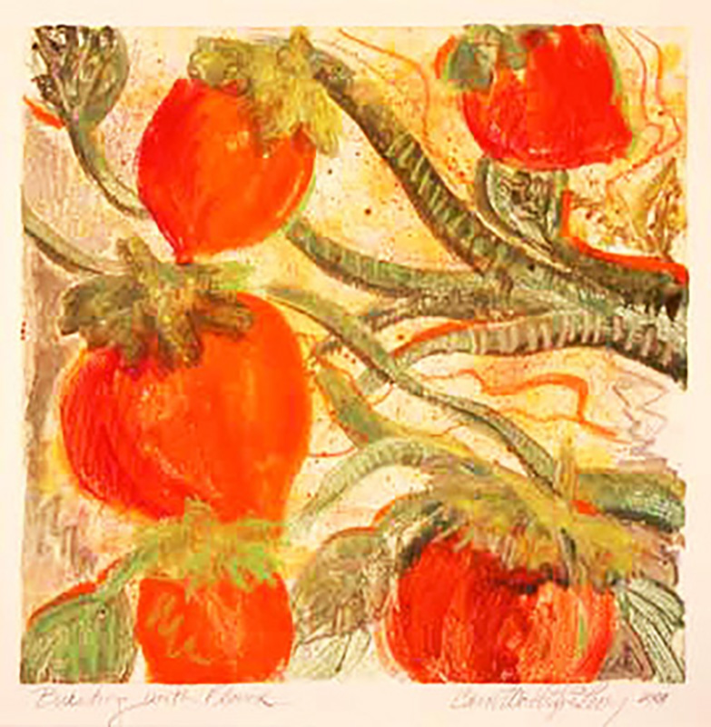 """Bursting with Sweetness"" Monoprint with mixed media by Carol Worthington-Levy"