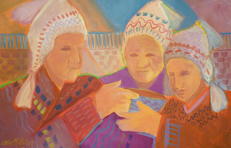 """Shaman Gift"" watercolor and gouache painting by Carol Worthington-Levy; in the collection of Maria and  Frank Portone."