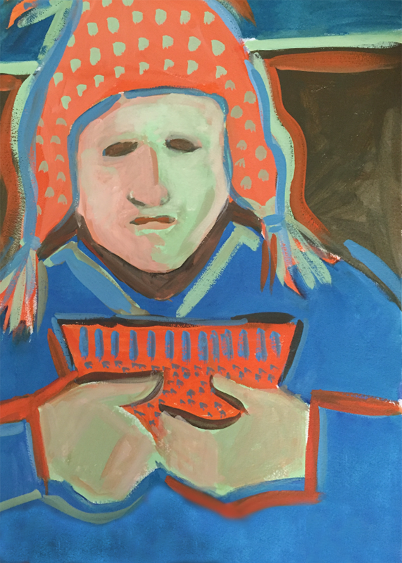 """Green and Orange Shaman"" watercolor and gouache by Carol worthington-Levy"
