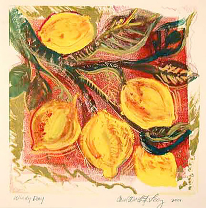 """Windy Day"" monoprint with mixed media by Carol Worthington-Levy; in the collection of Beverly Hansberry"