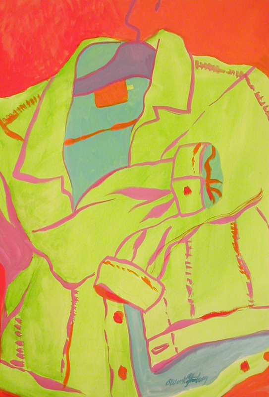 """Denim Hug"" watercolor and gouache, by Carol Worthington-Levy  21""W x32""H"