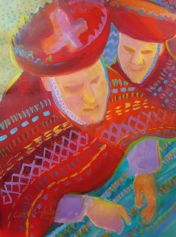 """Hullioc Weavers"" watercolor, gouache and aquarelle crayon painting by Carol Worthington-Levy"