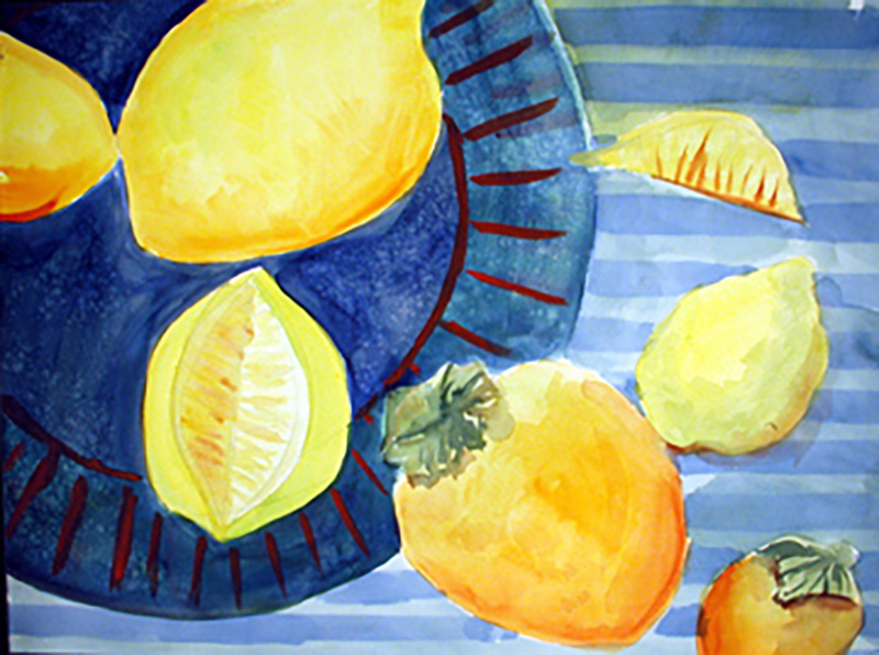 """Blue Plate Special"" watercolor and gouache by Carol Worthington-Levy"