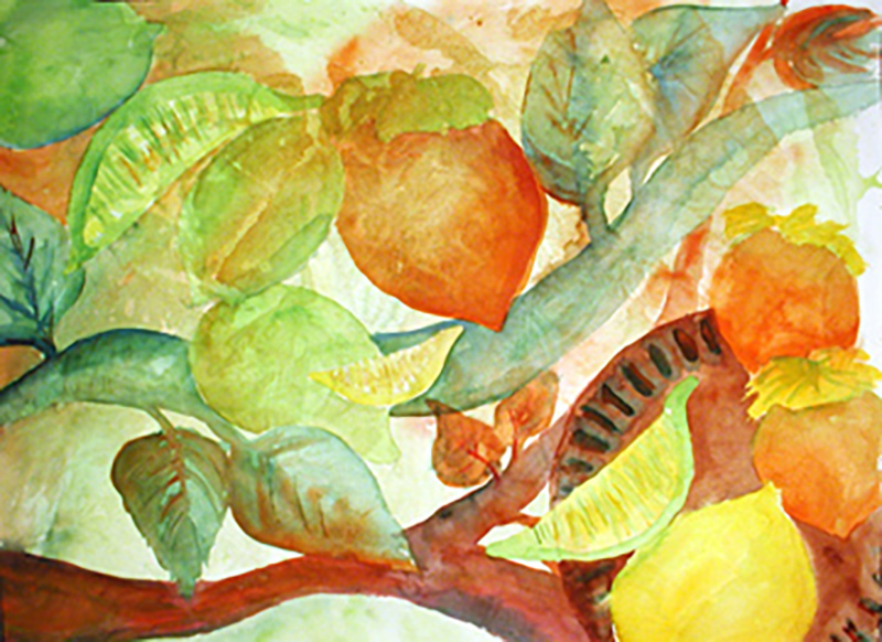 """Fruit Dreams"" watercolor by Carol Worthington-Levy; in the collection of Roberta and Jeff Roberts"